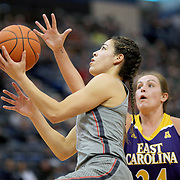 HARTFORD, CONNECTICUT- JANUARY 4: Kia Nurse #11 of the Connecticut Huskies drives to the basket for two points defended by Kristen Gaffney #24 of the East Carolina Lady Pirates during the UConn Huskies Vs East Carolina Pirates, NCAA Women's Basketball game on January 4th, 2017 at the XL Center, Hartford, Connecticut. (Photo by Tim Clayton/Corbis via Getty Images)