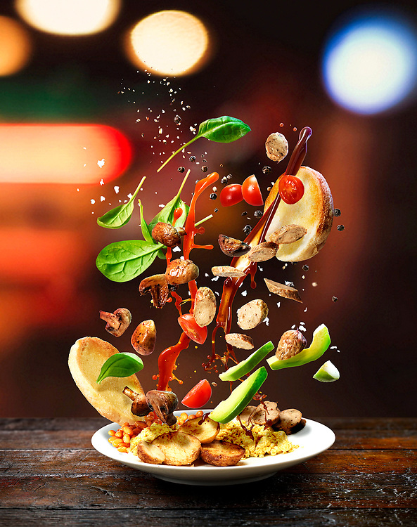 Series of high-speed images depicting selected healthy recipes shot with dynamic approach to food photography. The shots deconstruct the dishes and break them down to a set of ingerdients. The food, condiments and spices are floating in the air defying gravity.