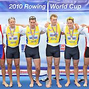 Bled, SLOVENIA,  Men's Four Gold Medalist.  GBR M4-, bow Alex PARTRIDGE, Rick EGINGTON, Alex GREGORY and Matt LANGRIDGE winning the final.1st FISA World Cup. Third day. Rowing Course. Lake Bled.  Sunday  30/05/2010  [Mandatory Credit Peter Spurrier/ Intersport Images]