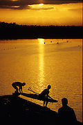 Sydney, AUSTRALIA, USA W2-  put their boat onto the  training lake for an early morning training session, at the 2000 Olympic Regatta, Penrith Lakes. [Photo Peter Spurrier/Intersport Images] 2000 Olympic Rowing Regatta00085138.tif