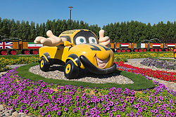 Display of cartoon cars  at  Miracle Garden the world's biggest flower garden in Dubai United Arab Emirates