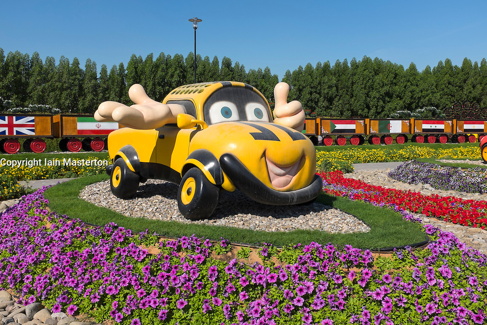 Display of cartoon cars  at  Miracle Garden the world's biggest flower garden in Dubai United Arab Emirates