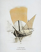 Colourized Sketch of a from the book ' Pen and pencil sketches of shipping and craft all round the world ' by Pritchett, Robert Taylor Published in London in 1899