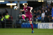 Kevin De Bruyne of Manchester city in action.  The Emirates FA Cup, 4th round match, Cardiff city v Manchester City at the Cardiff City Stadium in Cardiff, South Wales on Saturday 28th January 2018.<br /> pic by Andrew Orchard, Andrew Orchard sports photography.