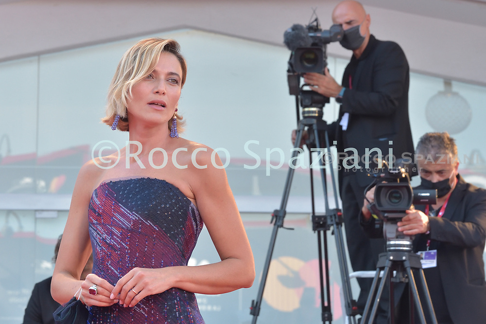 VENICE, ITALY - SEPTEMBER 12:Anna Foglietta walk the red carpet ahead of closing ceremony at the 77th Venice Film Festival on September 12, 2020 in Venice, Italy.<br /> (Photo by Rocco Spaziani)