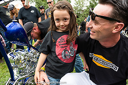 BF11 invited Builder Hawke Lawshe with daughter and his custom 1946 Harley-Davidson Knucklehead at the Born Free Motorcycle Show (BF11) at Oak Canyon Ranch, Silverado  CA, USA. Saturday, June 22, 2019. Photography ©2019 Michael Lichter.