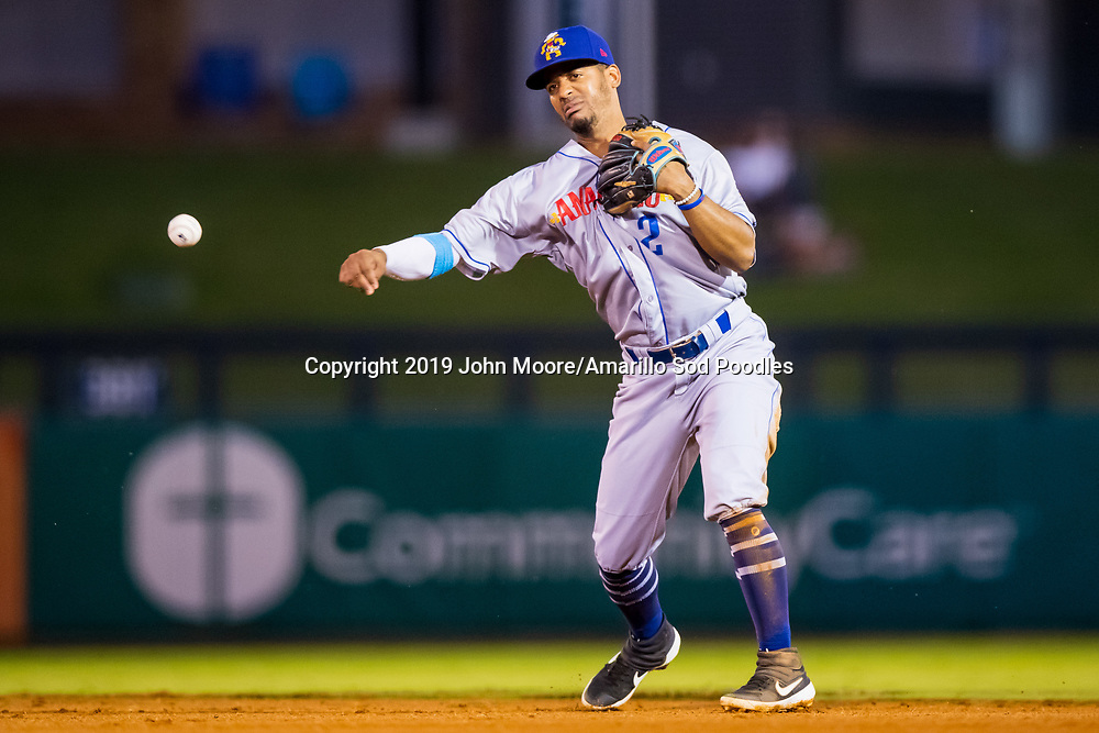 Amarillo Sod Poodles infielder Ivan Castillo (2) throws the ball against the Tulsa Drillers during the Texas League Championship on Friday, Sept. 13, 2019, at OneOK Field in Tulsa, Oklahoma. [Photo by John Moore/Amarillo Sod Poodles]