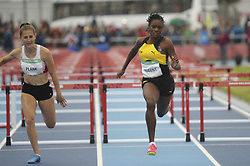 October 11, 2018 - Buenos Aires, Buenos Aires, Argentina - JOHANNA PLANK of Austria (L) and ACKERA NUGENT of Jamaica compete during the Women's 100m Hurdles (76.2cm) Stage 1 - Heat 2 on Day 5 of the Buenos Aires 2018 Youth Olympic Games at the Olympic Park. (Credit Image: © Patricio Murphy/ZUMA Wire)