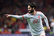 Isco of Spain celebrates a goal during the International friendly game football match between Spain and Argentina on march 27, 2018 at Wanda Metropolitano Stadium in Madrid, Spain - Photo Rudy / Spain ProSportsImages / DPPI / ProSportsImages / DPPI