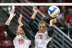 02 November 2012:  Kaitlyn Early and Leighann Hranka attempt a block during an NCAA womens volleyball match between the Missouri State Bears and the Illinois State Redbirds at Redbird Arena in Normal IL