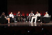 """October 20, 2012-New York, NY: (L-R) Producer Lisa Cortes, Vee Bravo, Education Director, Tribeca Film Institute, Actor/Social Activist Harry Belafonte, Hip Hop Living Legend & Recording Artist Grandmaster Melle Mel, Hip Hop Livimg Legend & Co-Founder of Hip Hop Culture Kool Herc and Martha Diaz, Hip Hop Resident-in-Scholar, The Schomburg Center at From Beat Street to These Streets: Hip Hop Then and Now panel discussion and special screening of """" Beat Street"""" co-hosted by the Schomburg Center, the Tribeca Youth Screening Series & Belafonte Enterprises and held at The Schomburg Center on October 20, 2012 in Harlem, New York City  (Terrence Jennings)"""