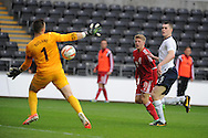 Lloyd Isgrove of Wales has a shot saved by Eng goalkeeper Jack Butland. UEFA 2015 European U21 championship, group one qualifier , Wales u21 v England u21 at the Liberty Stadium in Swansea, South Wales on Monday 19th May 2014. <br /> pic by Andrew Orchard, Andrew Orchard sports photography.