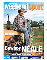 Myself and journo Mark Stevens visited the great Neale Daniher up at his folks property in Ungarie in NSW. He had just finished up his coaching career with the Melbourne Demons. Gee it was a great couple of days up there with him. Loved his mums scones! (Copyright Michael Dodge/Herald Sun)