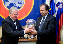 Rudi Zavrl awarded by Ivan Simic of Slovenian football federation (NZS) when he became a Honorable president of NZS, on May 7, 2009, in Hotel Kokra, Brdo at Kranj, Slovenia.  (Photo by Vid Ponikvar / Sportida)