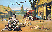 Famine in the Middle Ages. Nineteenth century Trade Card Chromolithograph
