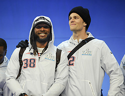 January 29, 2018 - Minneapolis, Minnesota, U.S - New England Patriots quarterback TOM BRADY, right, stands with New England Patriots running back BRANDON BOLDEN at Super Bowl LII Opening Night at the Xcel Energy Center in St. Paul, Minnesota, (Credit Image: © Craig Lassig via ZUMA Wire)