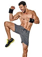 one caucasian fitness man exercising cardio boxing exercises in studio  isolated on white background