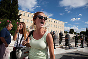Riot police presence in front of the Greek Parliament building in Syntagma square as students shout their protests and demonstrate against austerity measures and planned education reforms in Athens. The demonstration is against an education reform bill which aims to improve the operation of universities.