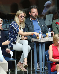 Ben Affleck and Lindsay Shookus are seen on day fourteen of the US Open at Billie Jean King National Tennis Center in New York.