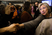 U.S. Democratic presidential candidate Hillary Clinton shakes hands with supporters afters speaking at a campaign rally in Sioux City, Iowa, January 31, 2016. REUTERS/Scott Morgan