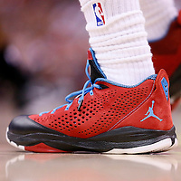 11 May 2014: Close view of Los Angeles Clippers guard Chris Paul (3) shoes during the Los Angeles Clippers 101-99 victory over the Oklahoma City Thunder, during Game Four of the Western Conference Semifinals of the NBA Playoffs, at the Staples Center, Los Angeles, California, USA.