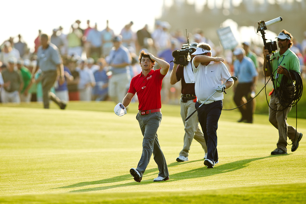 KIAWAH ISLAND, SC - AUGUST 12:  Rory McIlroy of Northern Ireland walks up the 18th fairway during the final round of the 2012 PGA Championship at The Ocean Course on Kiawah Island, South Carolina on August 12, 2012. (Photograph ©2012 Darren Carroll) *** Local Caption *** Rory McIlroy
