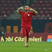 Galatasaray's Emre Colak celebrate victory during their Turkish Super League soccer match Galatasaray between Caykur Rizespor at the AliSamiYen Spor Kompleksi TT Arena at Seyrantepe in Istanbul Turkey on Sunday, 25 January 2015. Photo by Aykut AKICI/TURKPIX