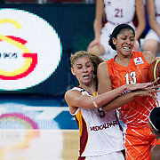 Galatasaray's Bahar CAGLAR (L) and UMMC Ekaterinburg's Candace PARKER (R) during their Euroleague woman Group A basketball match Galatasaray between UMMC Ekaterinburg at the Abdi Ipekci in Istanbul at Turkey on wednesday,October, 26, 2010. Photo by TURKPIX