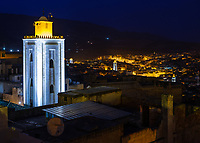 FEZ, MOROCCO - CIRCA APRIL 2017:  View of the Medina in Fez at blue hour.