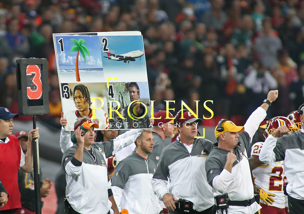 NFL International Series 2016 Washington Redskins @ Cincinnati Bengals 30th OCT 2016<br /> <br /> A picture board displayed by the Washington coaching area.  during game 17 of the NFL International Series between the  Washington Redskins and Cincinnati Bengals, From Wembley Stadium, London.<br /> <br /> Pic Micthell Gunn / PLPA? ProLens Photo Agency.<br /> Sunday 30 October 2016