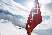 The Laax Open slopestyle course flag on 15th January 2017 in Laax, Switzerland. The Laax Open is a FIS Snowboarding World Championship event in Laax ski resort.