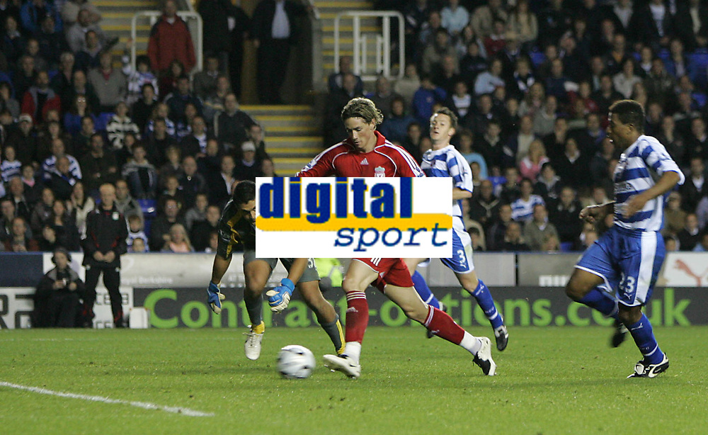 Photo: Lee Earle.<br /> Reading v Liverpool. Carling Cup. 25/09/2007. Liverpool's Fernando Torres (2ndL) goes around Reading keeper Adam Federici to score his third goal of the game.