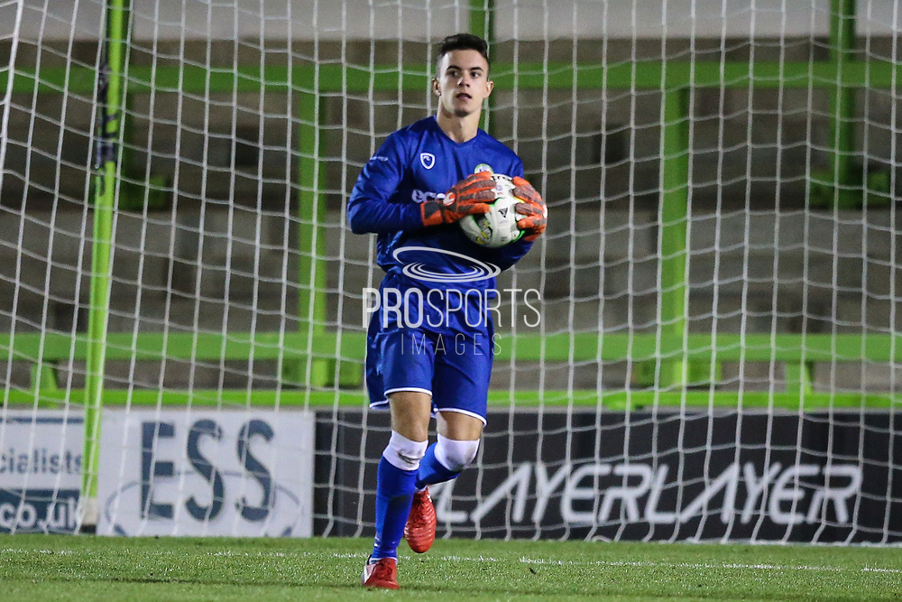 Forest Green Rovers goalkeeper Harrison Yates(13) during the FA Youth Cup match between U18 Forest Green Rovers and U18 Cheltenham Town at the New Lawn, Forest Green, United Kingdom on 29 October 2018.