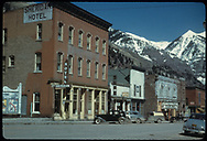 """Sheridan Hotel and various buildings on Telluride main street.<br /> Telluride, CO  Taken by August, Irving - 4/15/1949<br /> In book """"RGS Story, The Vol II: Telluride, Pandora and the Mines Above"""" page 166<br /> Thanks to Don Bergman for additional information."""