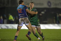 March 22, 2019 - Ireland - Peter Robb of Connacht tackled by Alberto Sgarbi of Benetton during the Guinness PRO14 match between Connacht Rugby and Benetton Rugby at the Sportsground in Galway, Ireland on March 22, 2019  (Credit Image: © Andrew Surma/NurPhoto via ZUMA Press)