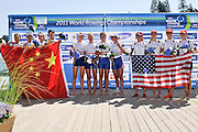 Bled, SLOVENIA. GBR LW4X, Bow Stephanie CULLEN,     Imogen WALSH, Kathryn TWYMAN and Andrea Dennis, Gold Medal, 2011 FISA World Rowing Championships, Lake Bled. Saturday  03/09/2011   [Mandatory Credit; Intersport Images]