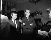 Prince Albert of Monaco at Iveagh House.1986..19.09.1986..09.19.1986.19th September 1986..Prince Albert of Monaco visited Iveagh House,Dublin as part of his visit to Ireland. He was welcomed by Minister of State at the Dept.,of Foreign Affairs,Mr George Bermingham T.D...Picture shows Prince Albert and Minister of State at the Dept.,of Foreign Affairs,Mr George Bermingham T.D.being questioned by a reporter.