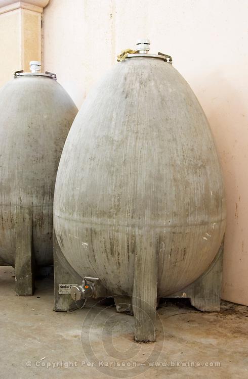 Special biodynamic fermentation tank in egg shape. Albet i Noya. Fermentation tanks. Penedes Catalonia Spain