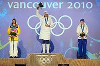 OL Vancouver 2010<br /> Skiskyting<br /> Foto: DPPI/Digitalsport<br /> NORWAY ONLY<br /> <br /> VANCOUVER OLYMPIC GAMES 2010 - VANCOUVER (FRA) - 13/02/2010 <br /> <br /> BIATHLON / 7.5KM SPRINT WOMEN - MAGDALENA NEUNER (GER) / SILVER MEDAL - ANASTAZIA KUZMINA (SVK) / GOLD MEDAL - MARIE DORIN (FRA) / BRONZE MEDAL