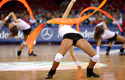 A Russian cheerleader performs during a time out during the Preliminary Round - Group B basketball match between National teams of Slovenia and Croatia at 2010 FIBA World Championships on August 30, 2010 at Abdi Ipekci Arena in Istanbul, Turkey. Slovenia defeated Croatia 91 - 84. (Photo By Vid Ponikvar / Sportida.com)