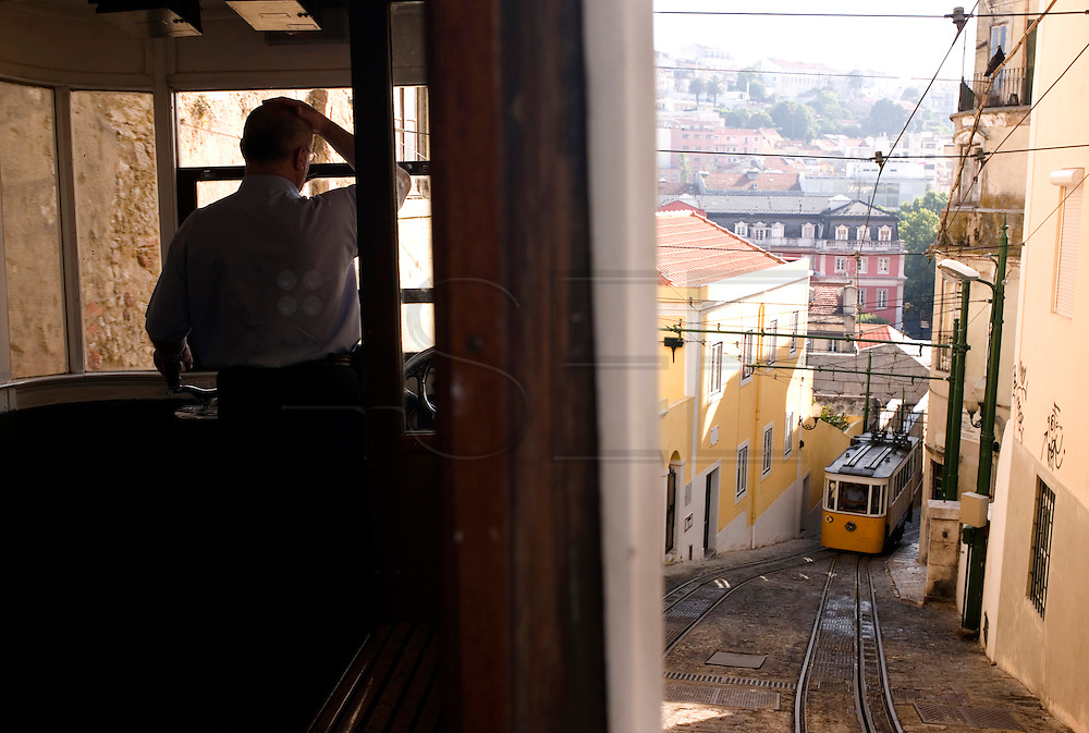 """Lavra Tramway is one of the so called """"elevadores"""" (lifts) that go up and down some very steep and narrow Lisbon streets."""