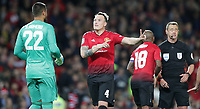 Football - 2018 / 2019 EFL Carabao Cup (League Cup) - Third Round: Manchester United vs. Derby County<br /> <br /> Phil Jones speaks to Sergio Romero of Manchester United after he is sent off for tackle on Harry Wilson of Derby County  at Old Trafford.<br /> <br /> COLORSPORT/LYNNE CAMERON