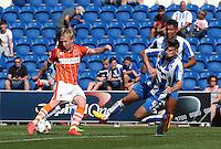 Blackpool's Mark Cullen scores his side 2nd goal<br /> <br /> Photographer  Kieran Galvin/CameraSport<br /> <br /> Football - The Football League Sky Bet League One - Colchester United v Blackpool - Saturday 08th August 2015 - Weston Homes Community Stadium - Colchester<br /> <br /> © CameraSport - 43 Linden Ave. Countesthorpe. Leicester. England. LE8 5PG - Tel: +44 (0) 116 277 4147 - admin@camerasport.com - www.camerasport.com