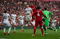 Football - 2021 / 2022 Premier League - Liverpool vs Burnley - Anfield - Saturday 21st August 2021<br /> <br /> <br /> Liverpool's Joel Matip heads the ball towards goal