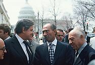 Washington, DC 1979/03/26  Senators Frank Church and Jacob Javitts greet Anwar Sadat on Capitol Hill.  Sadat came to Washington, DC. to sign the<br />Israel-Egypt Peace Treaty of 1979<br />Photo by Dennis Brack