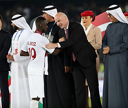 ABU DHABI, Feb. 2, 2019  President of FIFA Gianni Infantino rewards Almoez Ali of Qatar after the final match between Japan and Qatar at the 2019 AFC Asian Cup in Abu Dhabi, the United Arab Emirates (UAE), Feb. 1, 2019. (Credit Image: © Xinhua via ZUMA Wire)