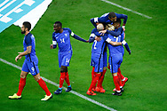 Antoine Griezmann (FRA) scored the first goal against Wayne Hennessey (WAL) and celebrated it with Layvin Kurzawa (FRA), Kylian Mbappe (FRA), Christophe Jallet (FRA), Blaise Matuidi (FRA), Olivier Giroud (FRA)during the 2017 Friendly Game football match between France and Wales on November 10, 2017 at Stade de France in Saint-Denis, France - Photo Stephane Allaman / ProSportsImages / DPPI