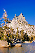 Afternoon light on Cathedral Peak from the shore of upper Cathedral Lake, Yosemite National Park, California