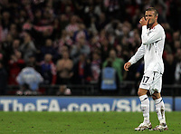 Photo: Paul Thomas/Sportsbeat Images.<br /> England v Croatia. UEFA European Championships Qualifying. 21/11/2007.<br /> <br /> Dejected Davd Beckham of England after the game.