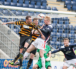 Falkirk's Mark Beck scoring their goal.<br /> Half time : Falkirk 1 v 1 Alloa Athletic, Scottish Championship game played today at The Falkirk Stadium.<br /> © Michael Schofield.